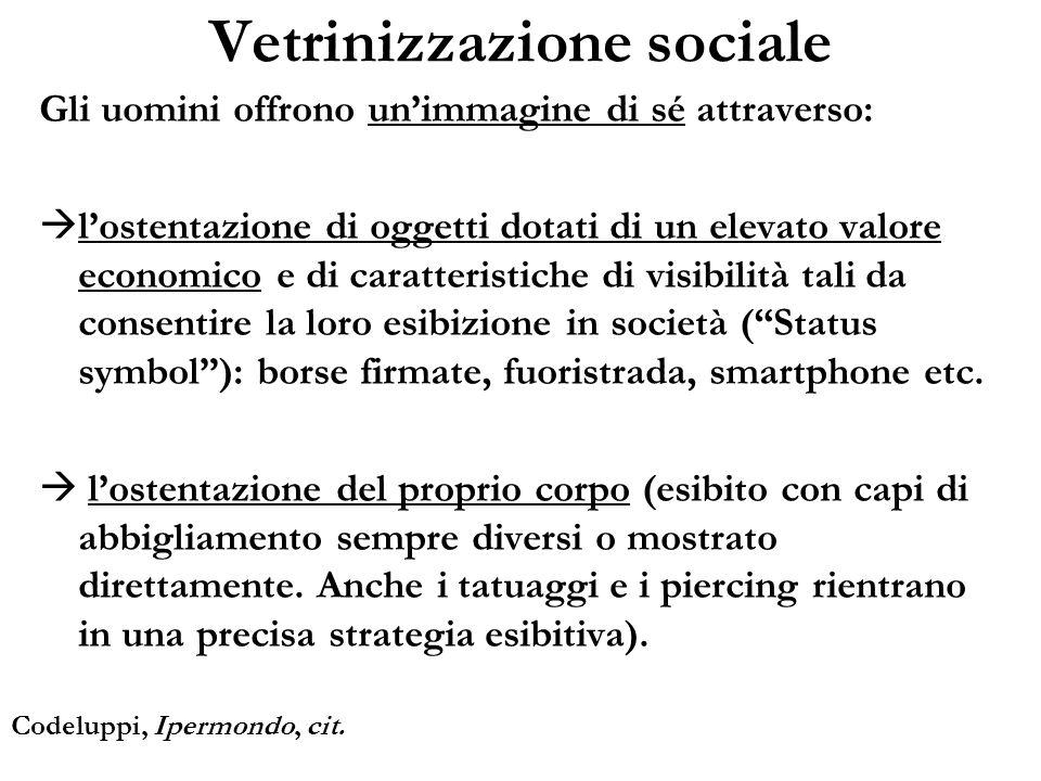 Vetrinizzazione sociale Gli uomini offrono unimmagine di sé attraverso: lostentazione di oggetti dotati di un elevato valore economico e di caratteris
