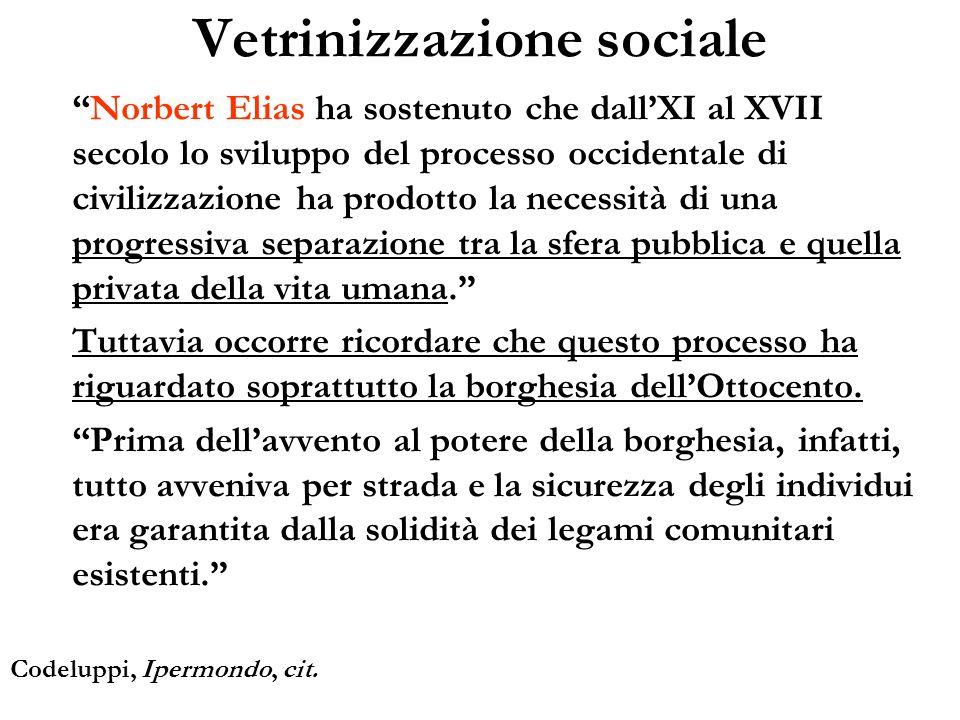 Vetrinizzazione sociale Norbert Elias ha sostenuto che dallXI al XVII secolo lo sviluppo del processo occidentale di civilizzazione ha prodotto la nec
