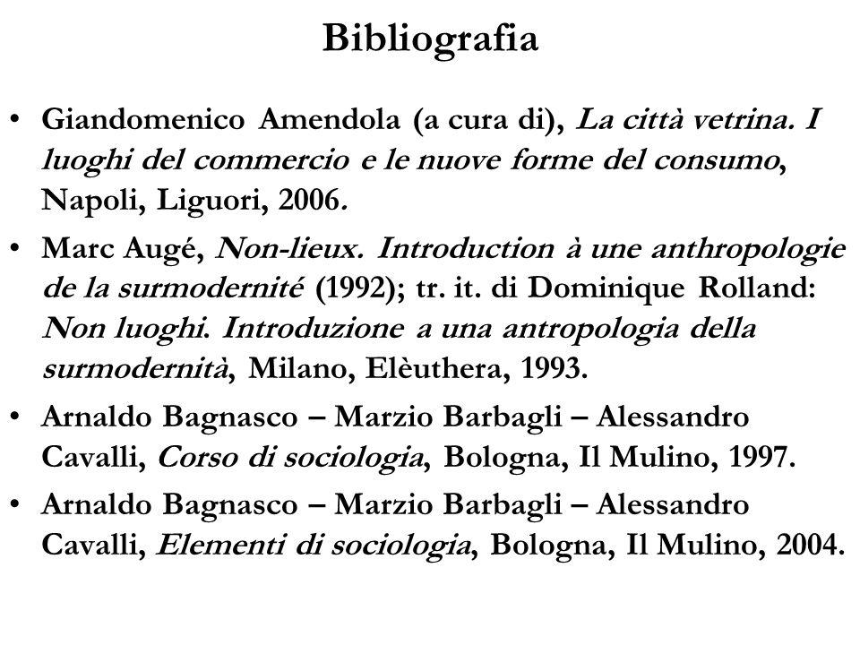 Bibliografia Giandomenico Amendola (a cura di), La città vetrina. I luoghi del commercio e le nuove forme del consumo, Napoli, Liguori, 2006. Marc Aug