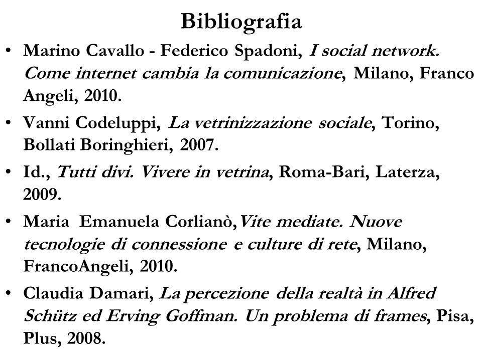 Bibliografia Marino Cavallo - Federico Spadoni, I social network. Come internet cambia la comunicazione, Milano, Franco Angeli, 2010. Vanni Codeluppi,