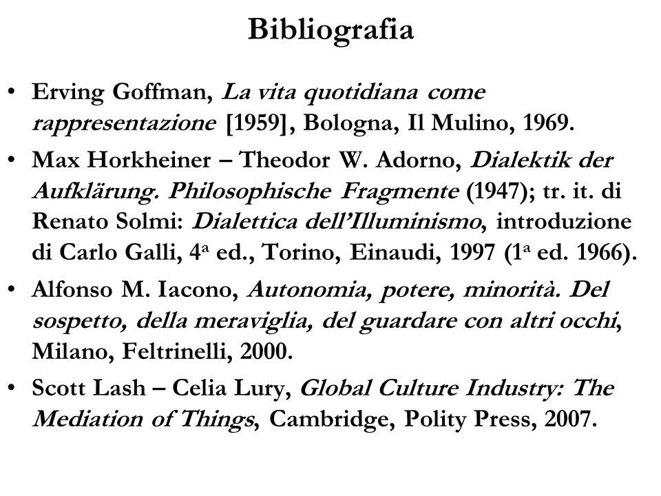 Bibliografia Erving Goffman, La vita quotidiana come rappresentazione [1959], Bologna, Il Mulino, 1969. Max Horkheiner – Theodor W. Adorno, Dialektik