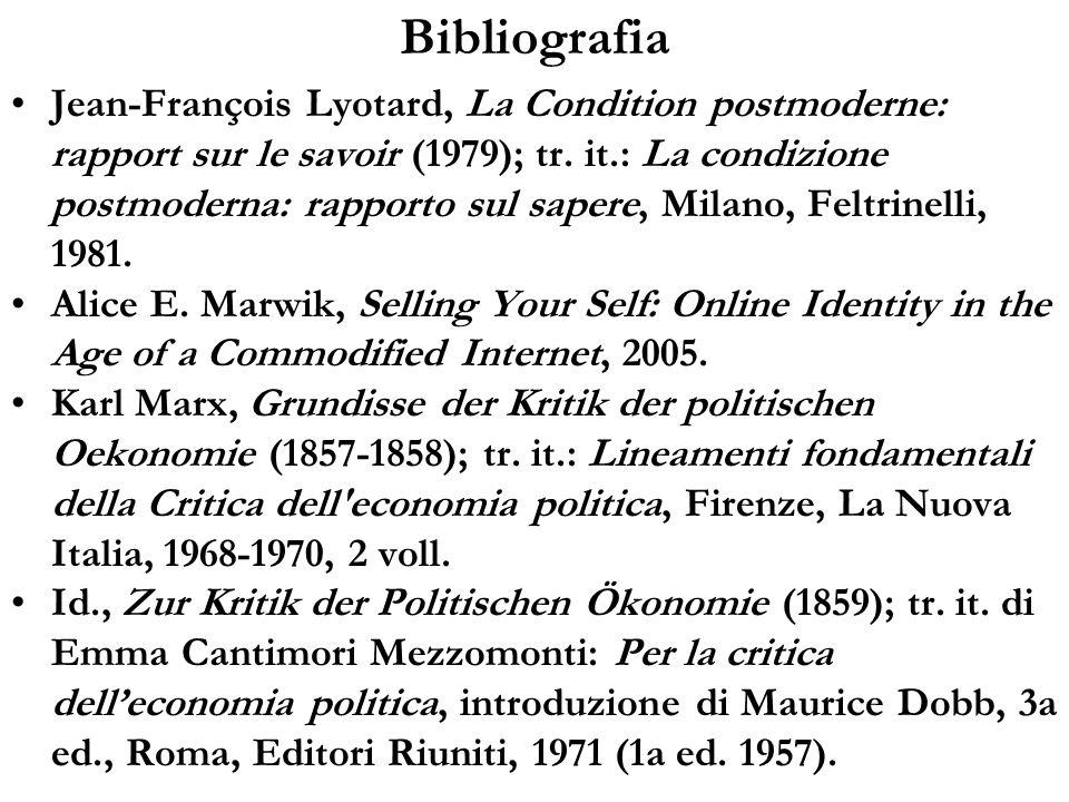 Bibliografia Jean-François Lyotard, La Condition postmoderne: rapport sur le savoir (1979); tr. it.: La condizione postmoderna: rapporto sul sapere, M