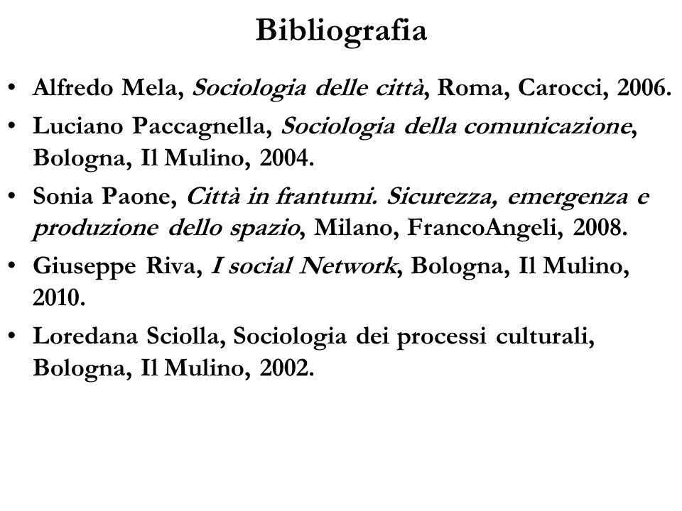Bibliografia Alfredo Mela, Sociologia delle città, Roma, Carocci, 2006. Luciano Paccagnella, Sociologia della comunicazione, Bologna, Il Mulino, 2004.