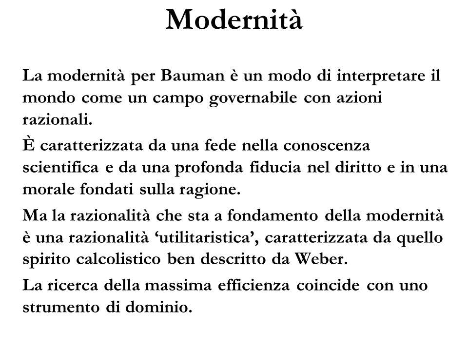 Modernità La modernità per Bauman è un modo di interpretare il mondo come un campo governabile con azioni razionali. È caratterizzata da una fede nell