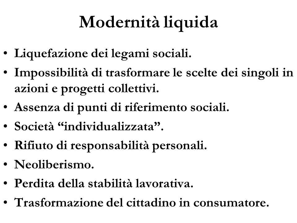 Modernità liquida Liquefazione dei legami sociali. Impossibilità di trasformare le scelte dei singoli in azioni e progetti collettivi. Assenza di punt