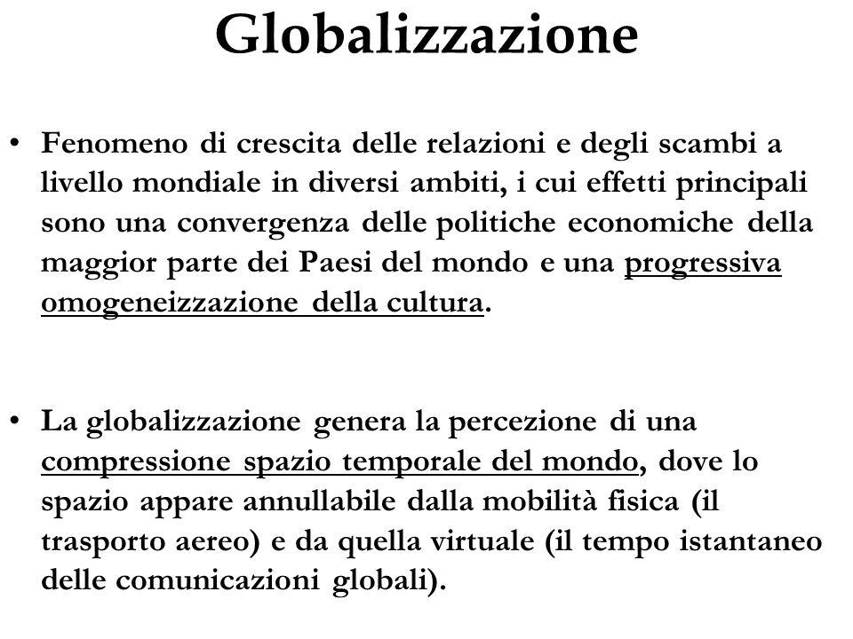 Globalizzazione Fenomeno di crescita delle relazioni e degli scambi a livello mondiale in diversi ambiti, i cui effetti principali sono una convergenz