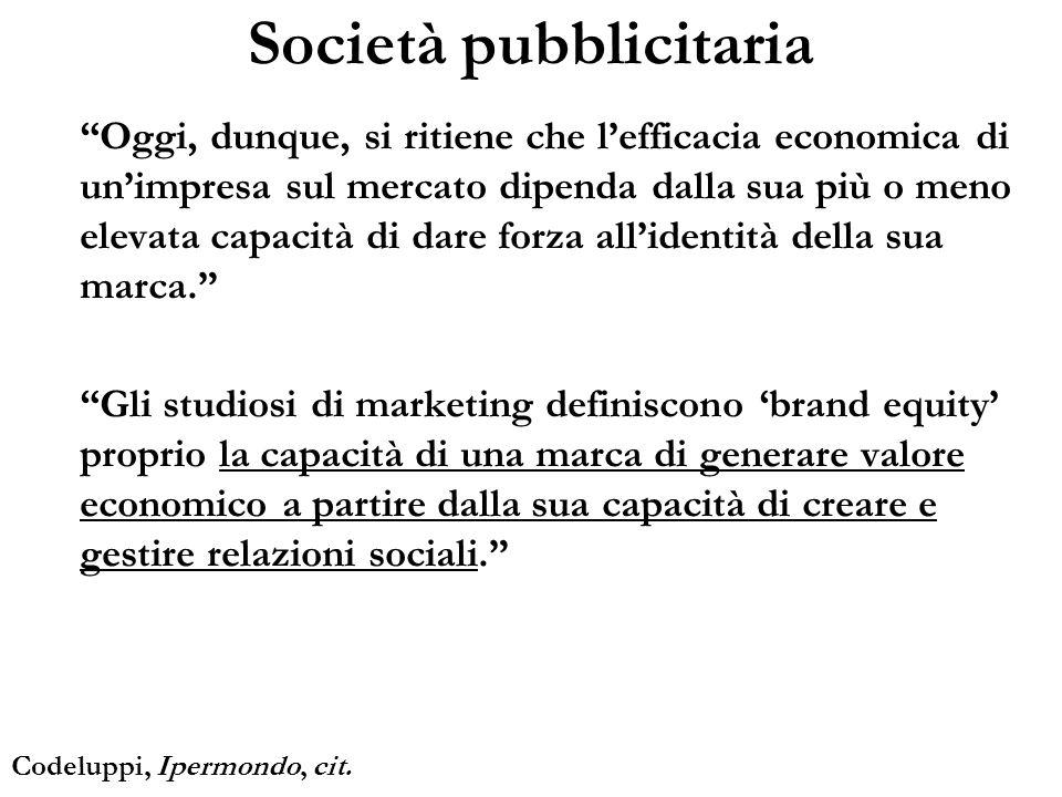 Società pubblicitaria Oggi, dunque, si ritiene che lefficacia economica di unimpresa sul mercato dipenda dalla sua più o meno elevata capacità di dare