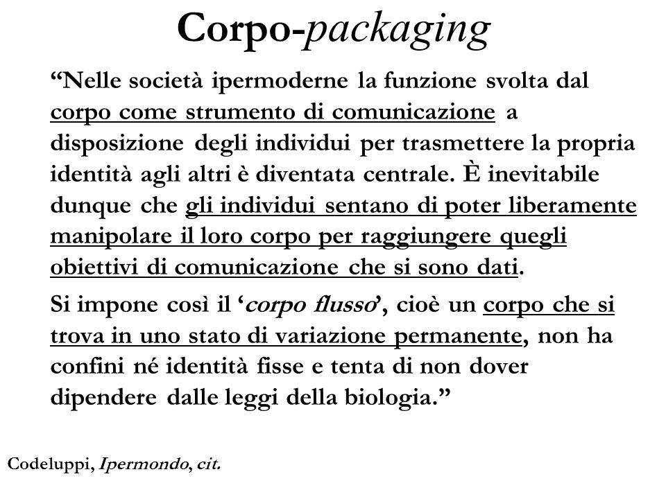 Corpo- packaging Nelle società ipermoderne la funzione svolta dal corpo come strumento di comunicazione a disposizione degli individui per trasmettere