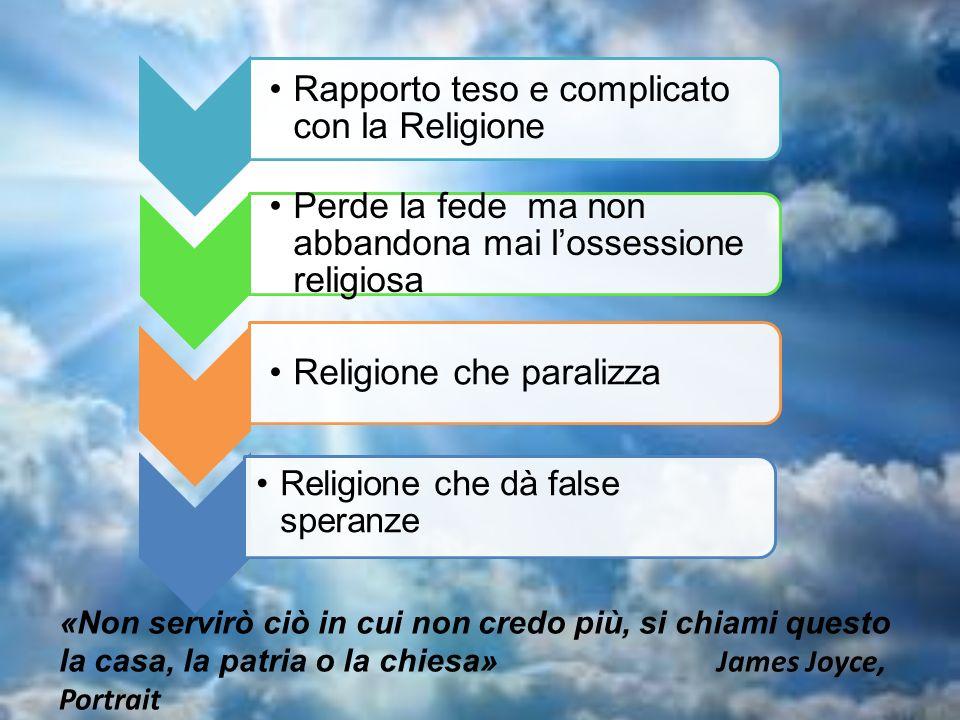 Rapporto teso e complicato con la Religione Perde la fede ma non abbandona mai lossessione religiosa Religione che paralizza Religione che dà false sp