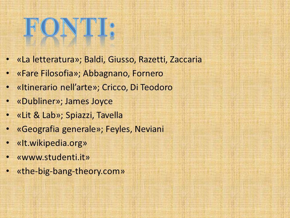 «La letteratura»; Baldi, Giusso, Razetti, Zaccaria «Fare Filosofia»; Abbagnano, Fornero «Itinerario nellarte»; Cricco, Di Teodoro «Dubliner»; James Jo