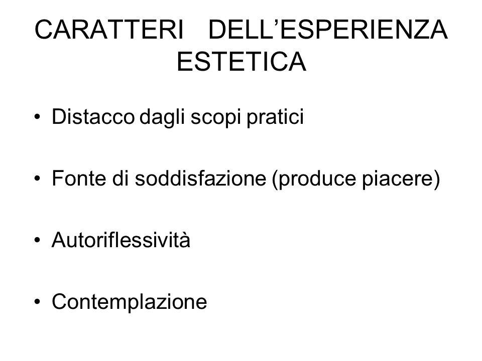CARATTERI DELLESPERIENZA ESTETICA Distacco dagli scopi pratici Fonte di soddisfazione (produce piacere) Autoriflessività Contemplazione