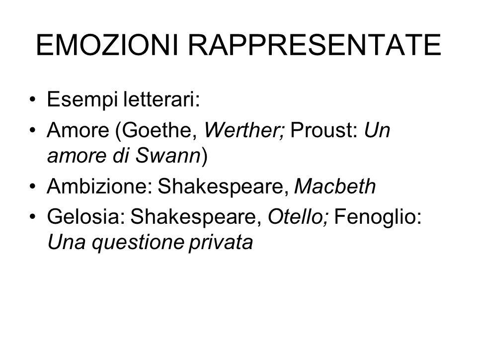 EMOZIONI RAPPRESENTATE Esempi letterari: Amore (Goethe, Werther; Proust: Un amore di Swann) Ambizione: Shakespeare, Macbeth Gelosia: Shakespeare, Otello; Fenoglio: Una questione privata