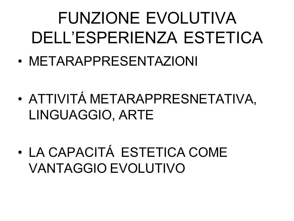 FUNZIONE EVOLUTIVA DELLESPERIENZA ESTETICA METARAPPRESENTAZIONI ATTIVITÁ METARAPPRESNETATIVA, LINGUAGGIO, ARTE LA CAPACITÁ ESTETICA COME VANTAGGIO EVOLUTIVO