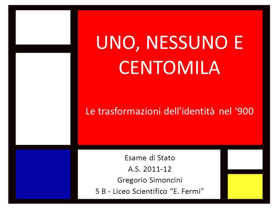 UNO, NESSUNO E CENTOMILA Le trasformazioni dellidentità nel 900 Esame di Stato A.S. 2011-12 Gregorio Simoncini 5 B - Liceo Scientifico E. Fermi