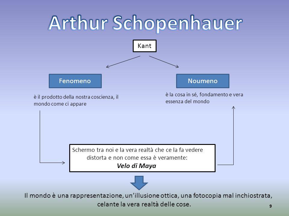 Kant NoumenoFenomeno è il prodotto della nostra coscienza, il mondo come ci appare è la cosa in sé, fondamento e vera essenza del mondo Schermo tra no