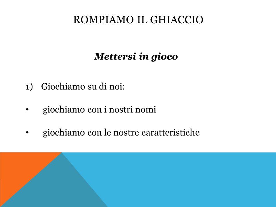 ROMPIAMO IL GHIACCIO Giochiamo con i nostri nomi: il logogrifo (Zamponi, I draghi locopei, p. 12)