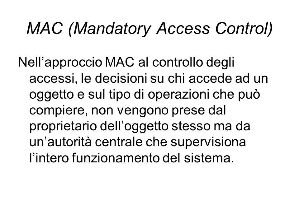 MAC (Mandatory Access Control) Nellapproccio MAC al controllo degli accessi, le decisioni su chi accede ad un oggetto e sul tipo di operazioni che può