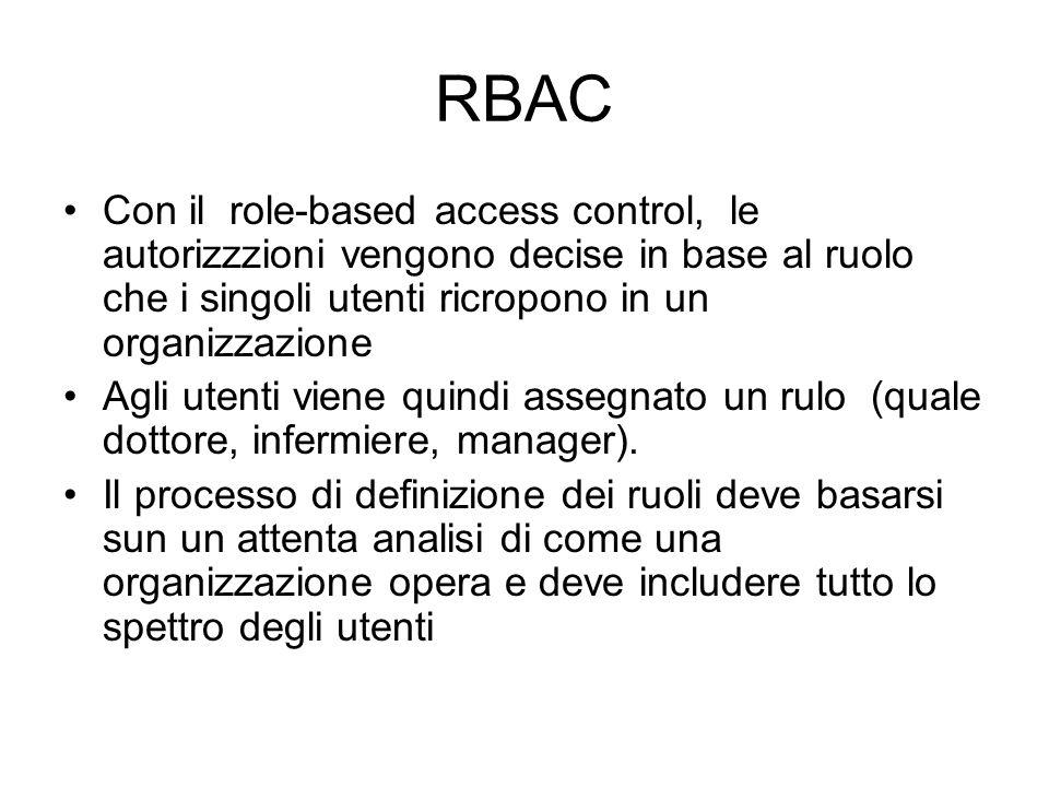 RBAC Con il role-based access control, le autorizzzioni vengono decise in base al ruolo che i singoli utenti ricropono in un organizzazione Agli utenti viene quindi assegnato un rulo (quale dottore, infermiere, manager).