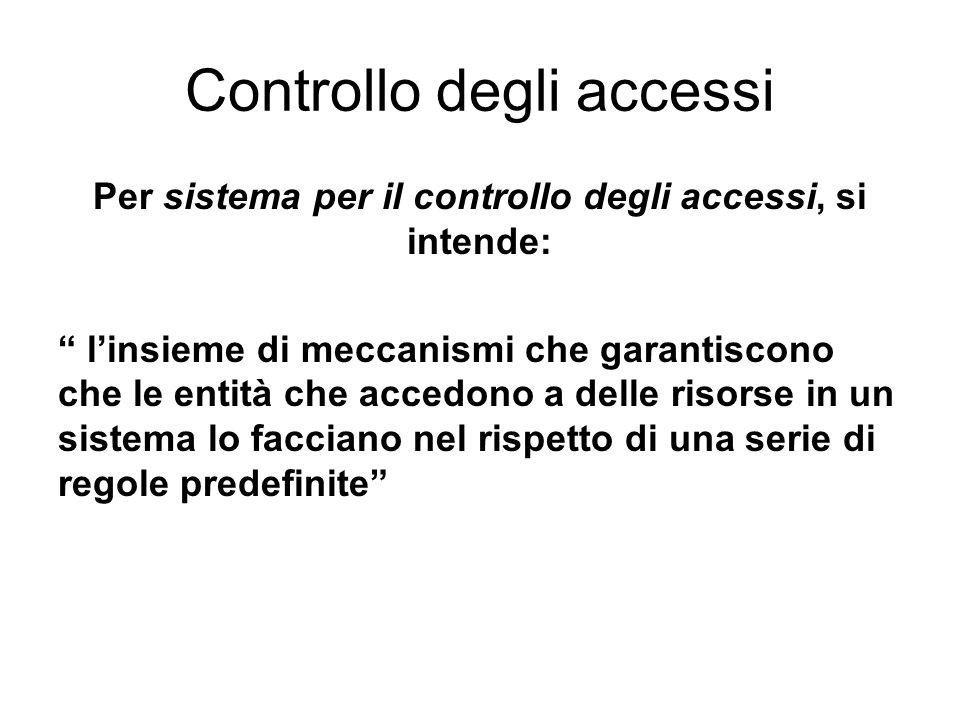 Controllo degli accessi Per sistema per il controllo degli accessi, si intende: linsieme di meccanismi che garantiscono che le entità che accedono a delle risorse in un sistema lo facciano nel rispetto di una serie di regole predefinite
