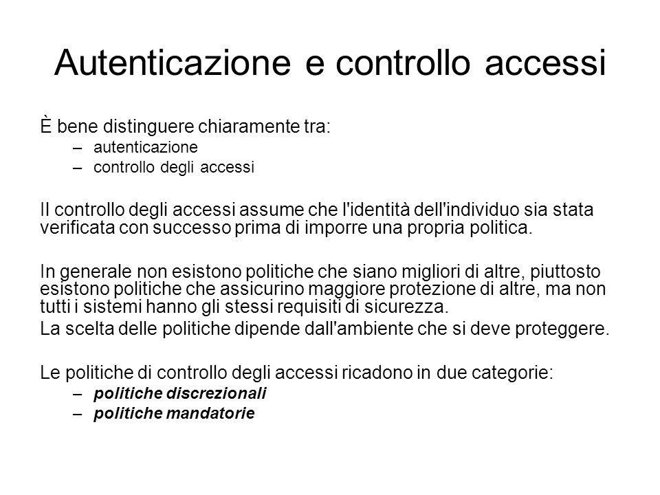 Autenticazione e controllo accessi È bene distinguere chiaramente tra: –autenticazione –controllo degli accessi Il controllo degli accessi assume che l identità dell individuo sia stata verificata con successo prima di imporre una propria politica.