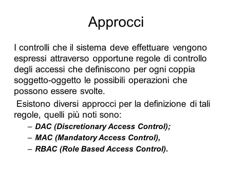 Approcci I controlli che il sistema deve effettuare vengono espressi attraverso opportune regole di controllo degli accessi che definiscono per ogni coppia soggetto-oggetto le possibili operazioni che possono essere svolte.