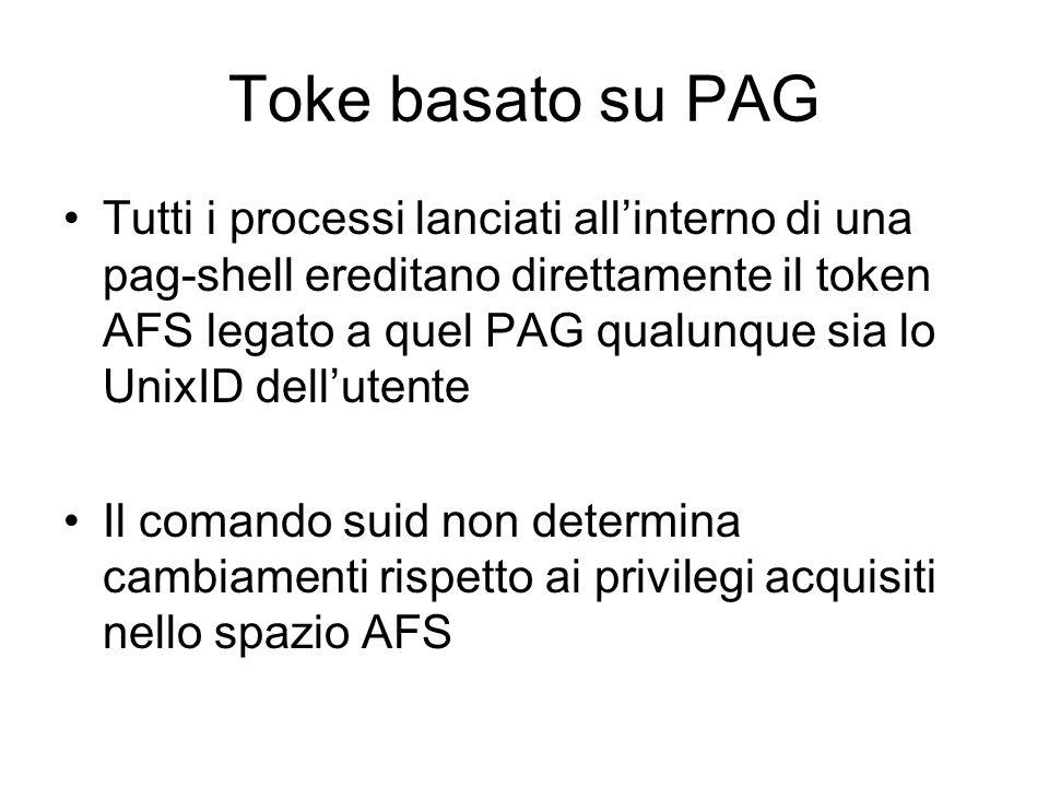 Toke basato su PAG Tutti i processi lanciati allinterno di una pag-shell ereditano direttamente il token AFS legato a quel PAG qualunque sia lo UnixID