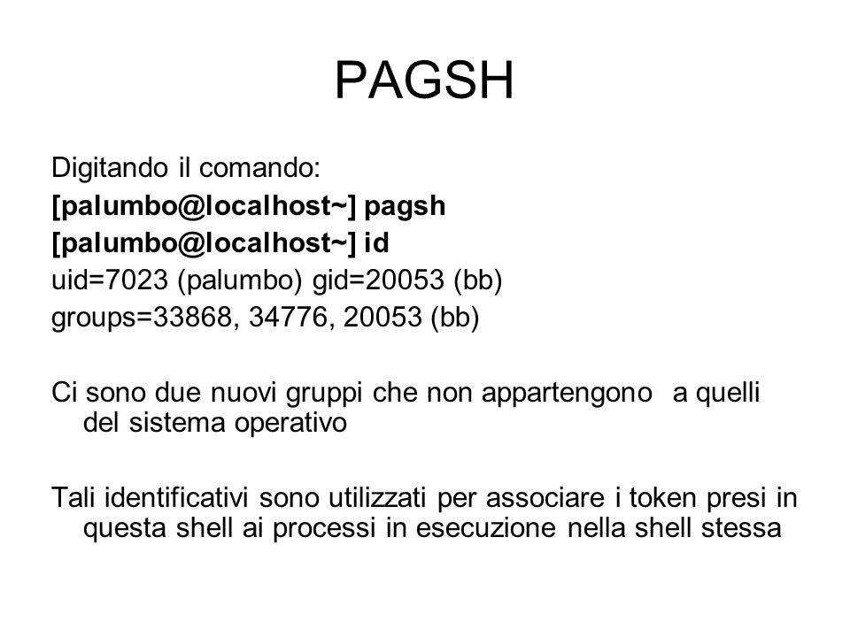 PAGSH Digitando il comando: [palumbo@localhost~] pagsh [palumbo@localhost~] id uid=7023 (palumbo) gid=20053 (bb) groups=33868, 34776, 20053 (bb) Ci so