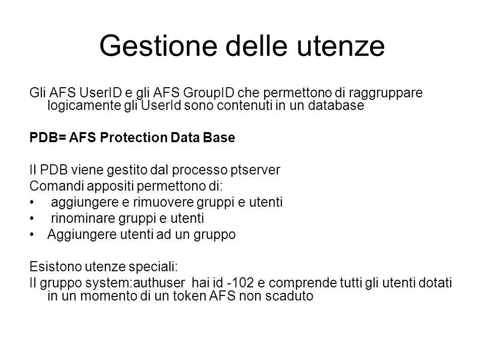 Gestione delle utenze Gli AFS UserID e gli AFS GroupID che permettono di raggruppare logicamente gli UserId sono contenuti in un database PDB= AFS Pro
