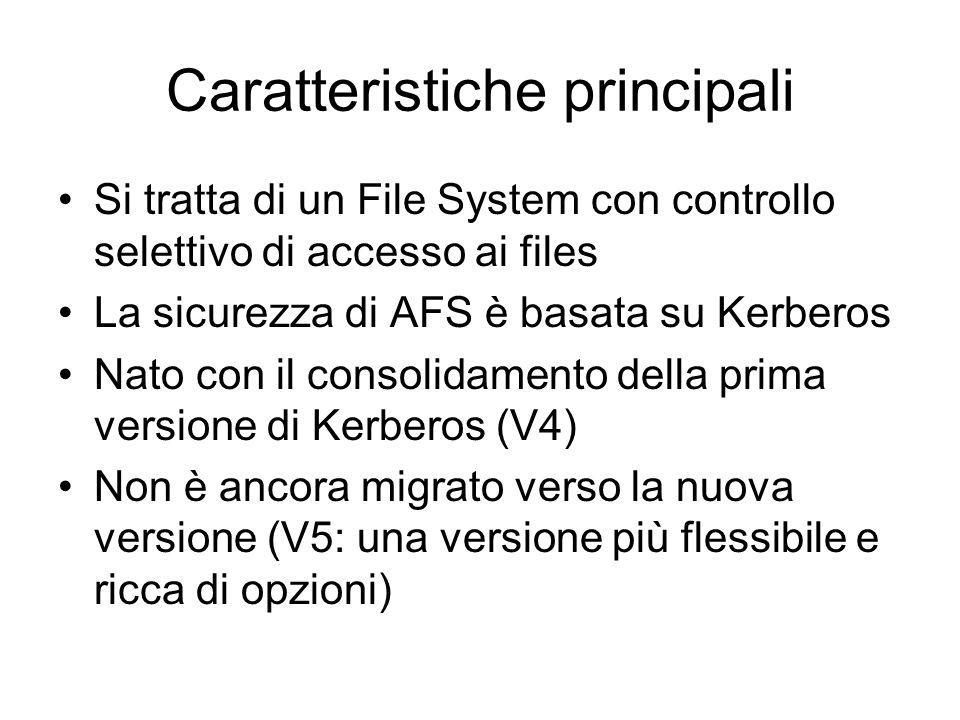 Caratteristiche principali Si tratta di un File System con controllo selettivo di accesso ai files La sicurezza di AFS è basata su Kerberos Nato con i