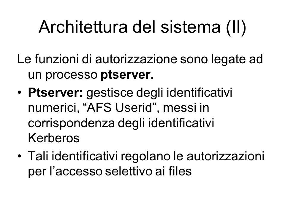 Architettura del sistema (II) Le funzioni di autorizzazione sono legate ad un processo ptserver. Ptserver: gestisce degli identificativi numerici, AFS