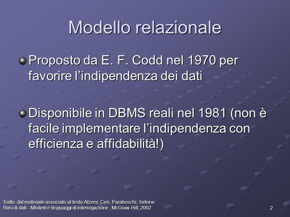 2 Tratto dal materiale associato al testo Atzeni, Ceri, Paraboschi, Torlone Basi di dati - Modelli e linguaggi di interrogazione, McGraw-Hill, 2002. M