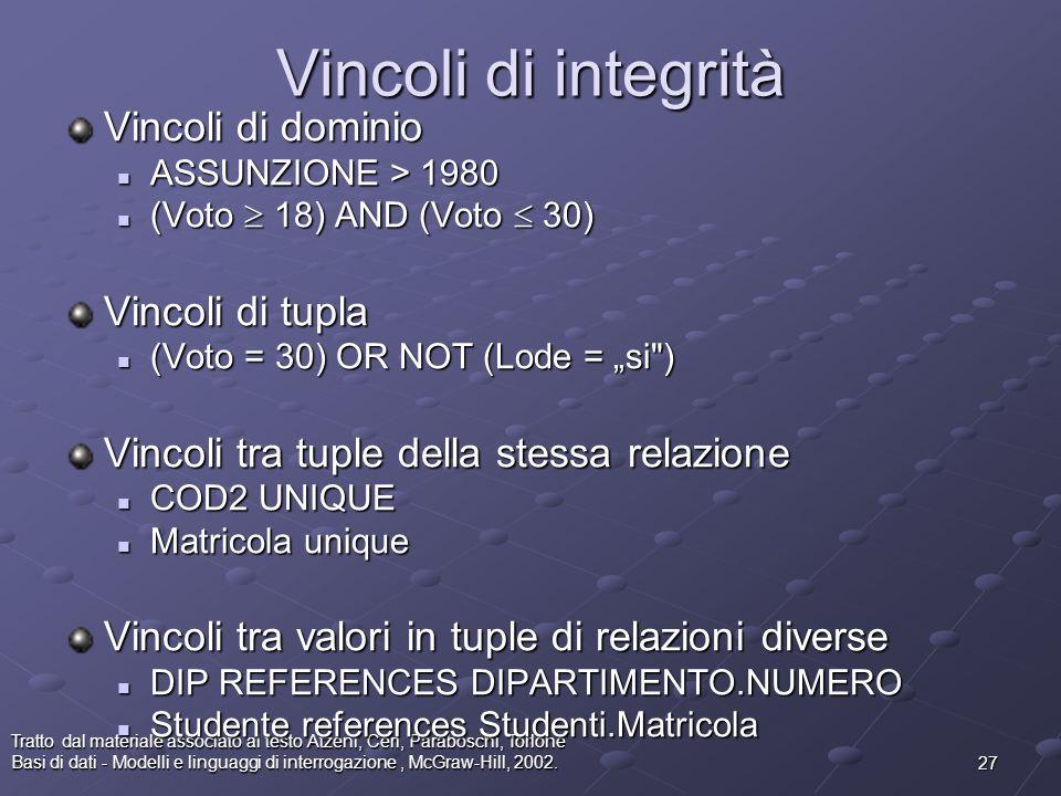 27 Tratto dal materiale associato al testo Atzeni, Ceri, Paraboschi, Torlone Basi di dati - Modelli e linguaggi di interrogazione, McGraw-Hill, 2002.