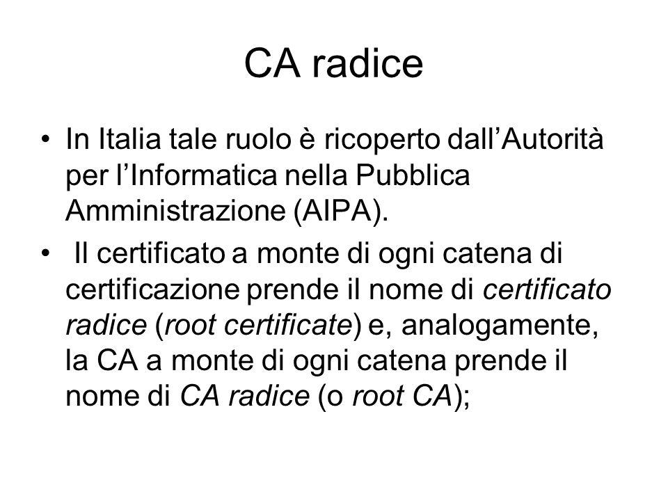 CA radice In Italia tale ruolo è ricoperto dallAutorità per lInformatica nella Pubblica Amministrazione (AIPA). Il certificato a monte di ogni catena
