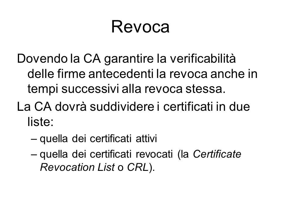 Revoca Dovendo la CA garantire la verificabilità delle firme antecedenti la revoca anche in tempi successivi alla revoca stessa. La CA dovrà suddivide