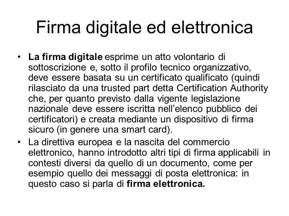 Firma digitale ed elettronica La firma digitale esprime un atto volontario di sottoscrizione e, sotto il profilo tecnico organizzativo, deve essere ba