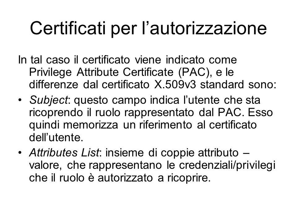 Certificati per lautorizzazione In tal caso il certificato viene indicato come Privilege Attribute Certificate (PAC), e le differenze dal certificato