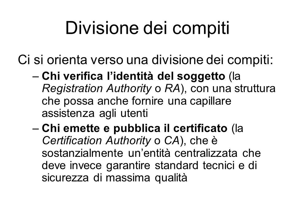 Divisione dei compiti Ci si orienta verso una divisione dei compiti: –Chi verifica lidentità del soggetto (la Registration Authority o RA), con una st