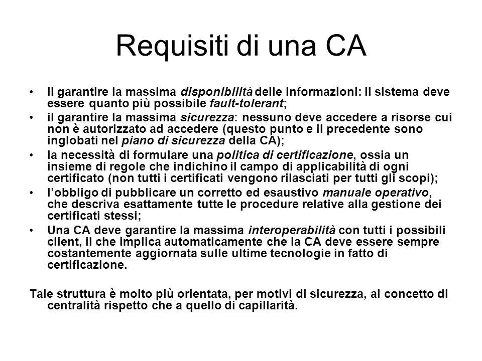 Requisiti di una CA il garantire la massima disponibilità delle informazioni: il sistema deve essere quanto più possibile fault-tolerant; il garantire