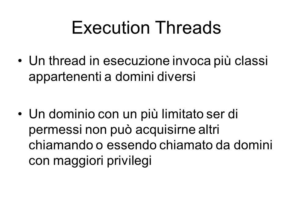 Execution Threads Un thread in esecuzione invoca più classi appartenenti a domini diversi Un dominio con un più limitato ser di permessi non può acquisirne altri chiamando o essendo chiamato da domini con maggiori privilegi