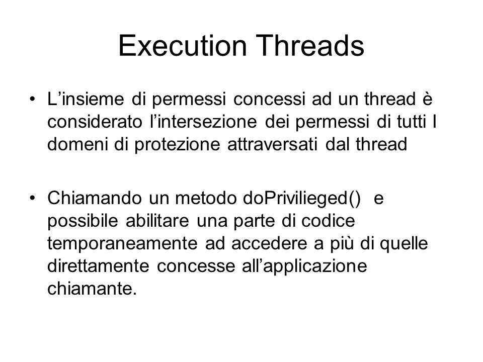 Execution Threads Linsieme di permessi concessi ad un thread è considerato lintersezione dei permessi di tutti I domeni di protezione attraversati dal