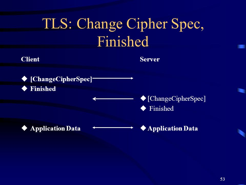 53 TLS: Change Cipher Spec, Finished Client [ChangeCipherSpec] Finished Application Data Server [ChangeCipherSpec] Finished Application Data