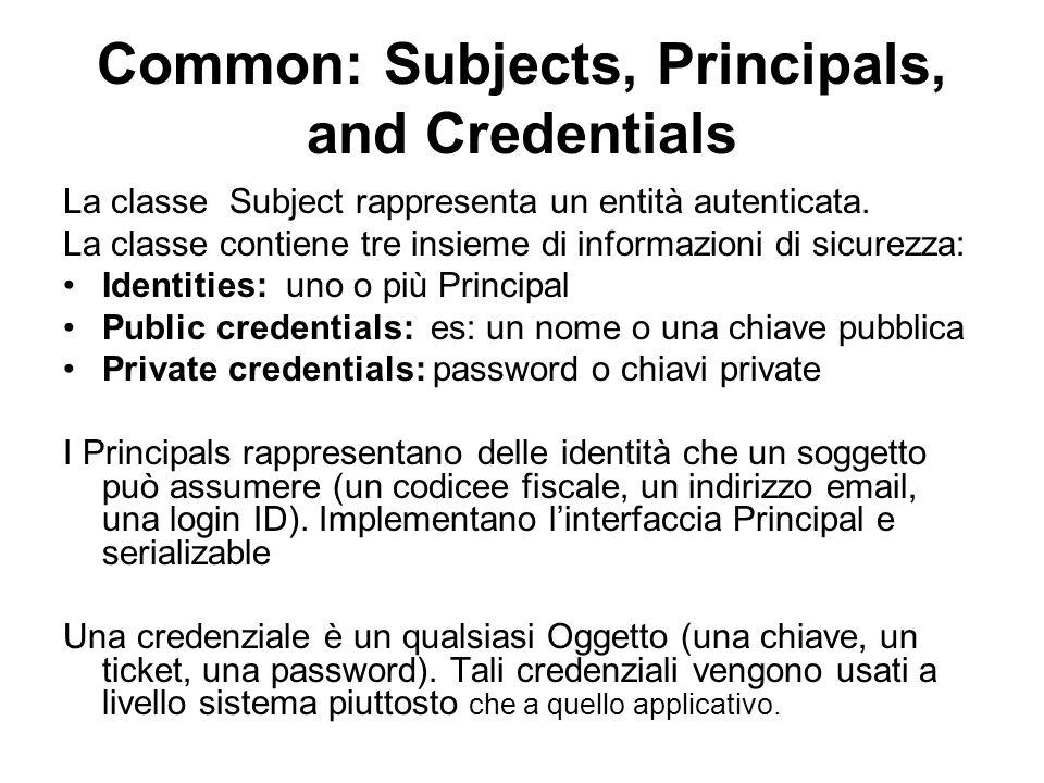 Common: Subjects, Principals, and Credentials La classe Subject rappresenta un entità autenticata. La classe contiene tre insieme di informazioni di s