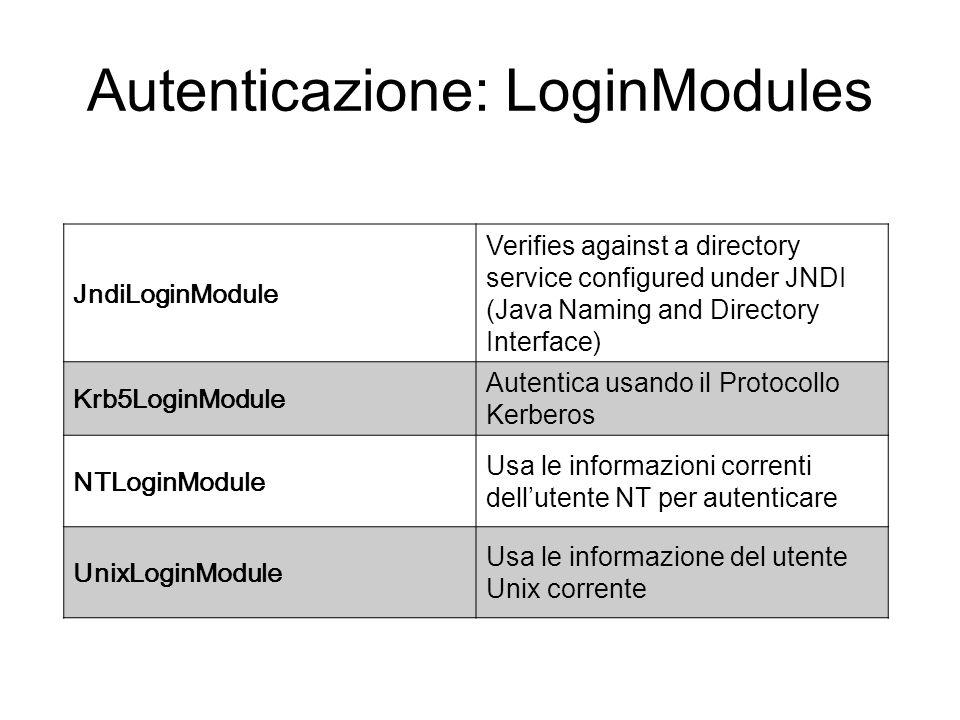 Autenticazione: LoginModules JndiLoginModule Verifies against a directory service configured under JNDI (Java Naming and Directory Interface) Krb5Logi