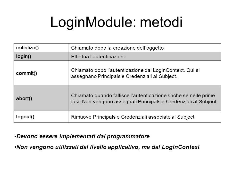 LoginModule: metodi initialize() Chiamato dopo la creazione delloggetto login() Effettua lautenticazione commit() Chiamato dopo lautenticazione dal Lo