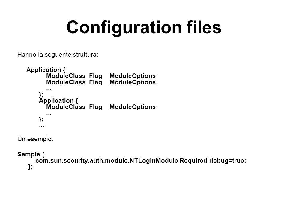 Configuration files Hanno la seguente struttura: Application { ModuleClass Flag ModuleOptions; ModuleClass Flag ModuleOptions;... }; Application { Mod