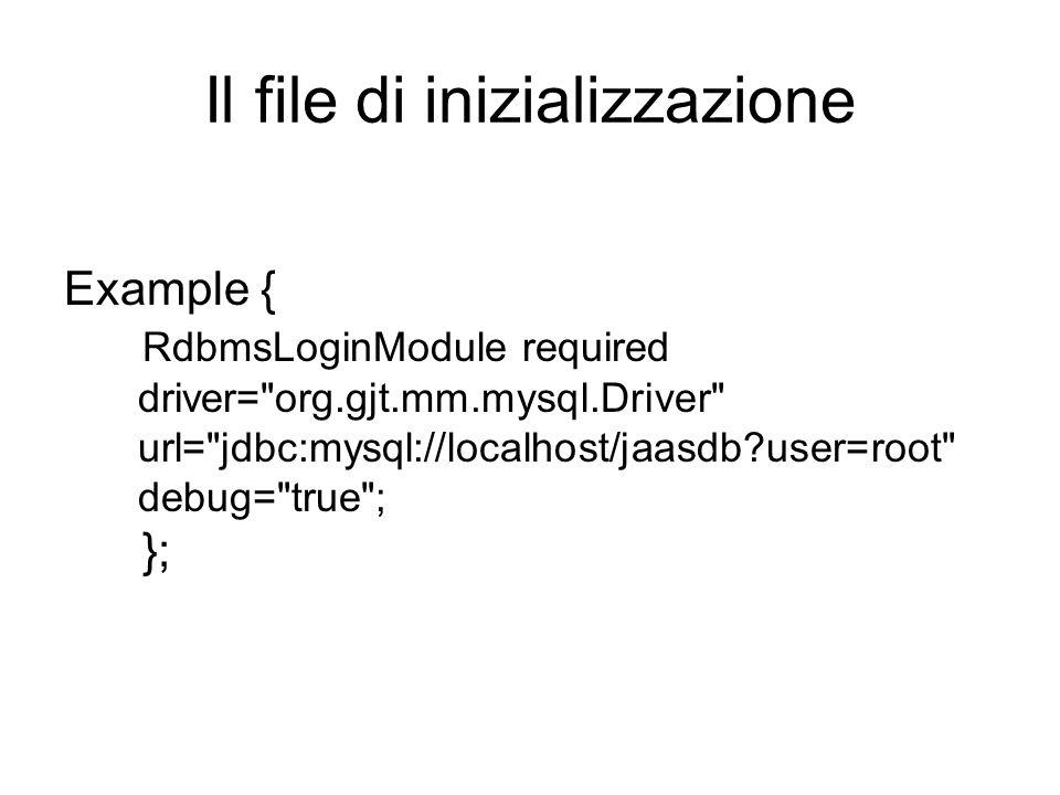 Il file di inizializzazione Example { RdbmsLoginModule required driver=