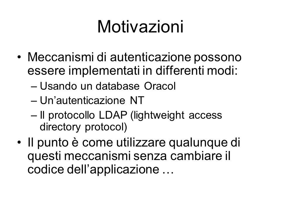 Motivazioni Meccanismi di autenticazione possono essere implementati in differenti modi: –Usando un database Oracol –Unautenticazione NT –Il protocoll