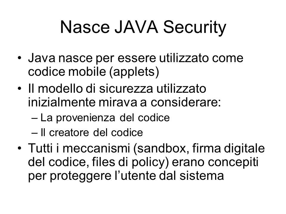 Nasce JAVA Security Java nasce per essere utilizzato come codice mobile (applets) Il modello di sicurezza utilizzato inizialmente mirava a considerare