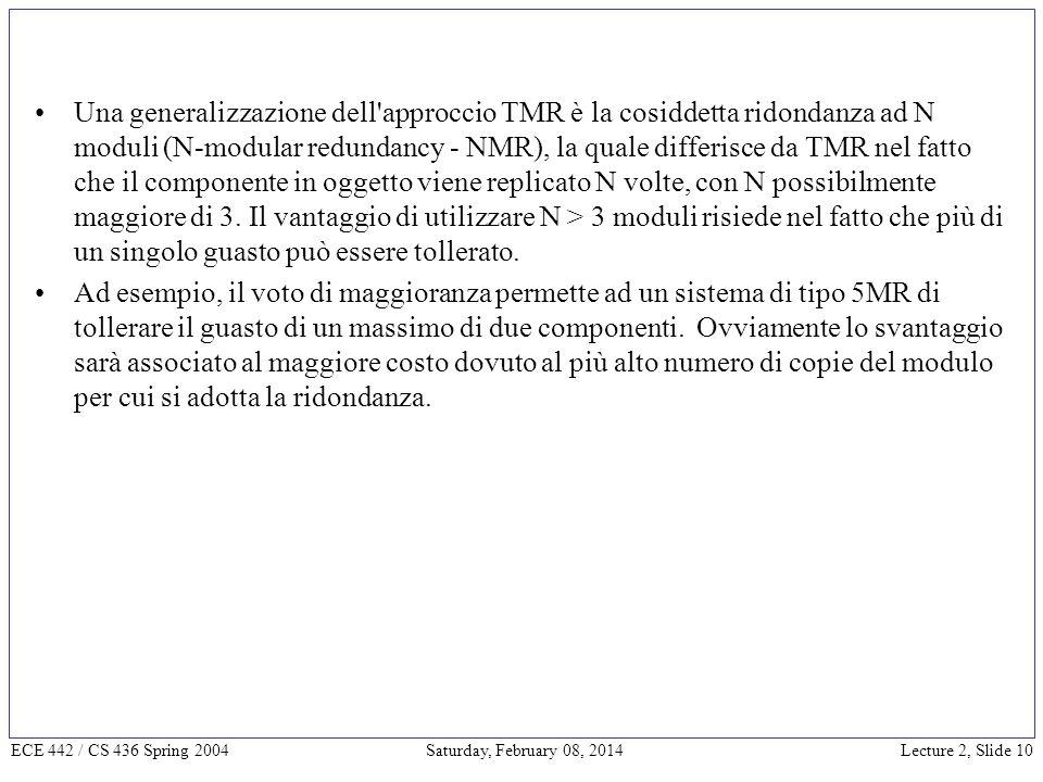 Lecture 2, Slide 10 ECE 442 / CS 436 Spring 2004 Saturday, February 08, 2014 Una generalizzazione dell approccio TMR è la cosiddetta ridondanza ad N moduli (N-modular redundancy - NMR), la quale differisce da TMR nel fatto che il componente in oggetto viene replicato N volte, con N possibilmente maggiore di 3.