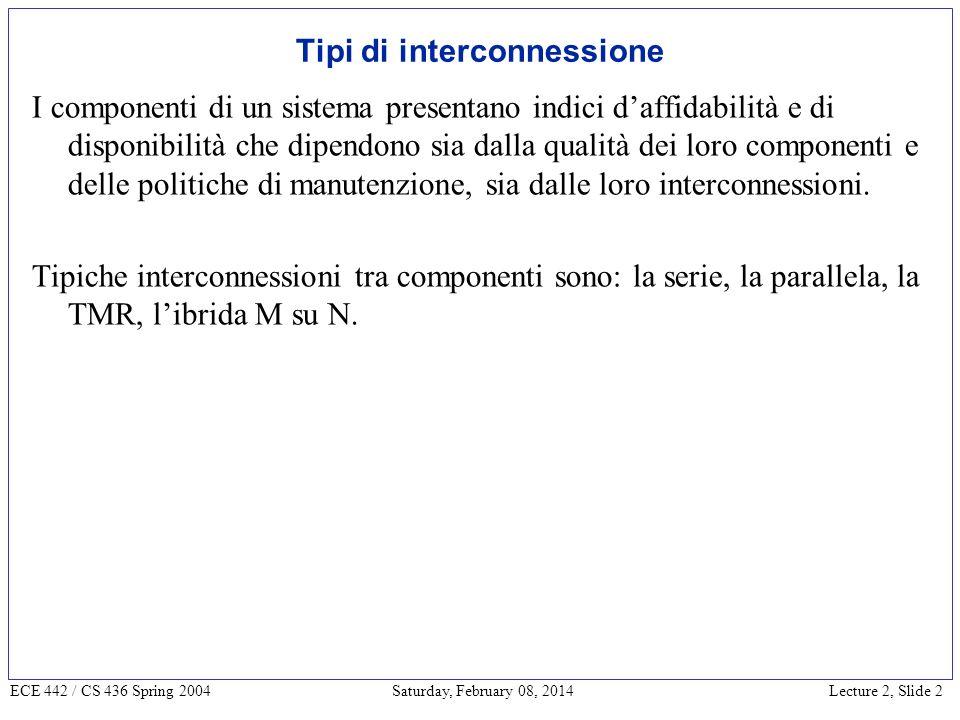 Lecture 2, Slide 3 ECE 442 / CS 436 Spring 2004 Saturday, February 08, 2014 Calcolo dellaffidabilità Interconnessione serie.